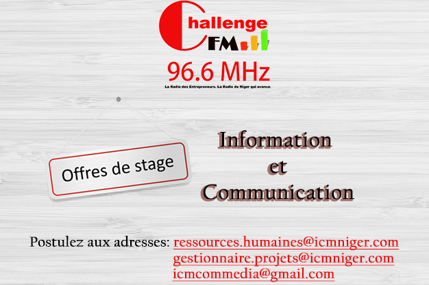 Offre de stage de pré-embauche à Challenge FM, 96.6 Mhz.
