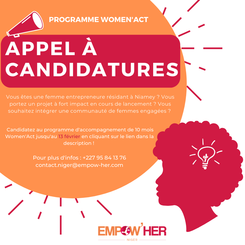 Lancement de l'appel à candidatures Women'Act – Empow'Her